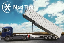 MAXI TIGER - tipper semitrailer 80 m3 - MAXI TIGER is the biggest tipper semitrailer in steel, conceived to transport up to 86 mc of end of life materials including scrap. Two lateral cylinders for a safe unloading.