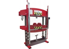 Press Ergo 60 - Ergo 60-ton hydraulic press dedicated to repairers of heavy vehicles and public works equipment for large straightening, folding, shading, extraction
